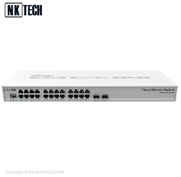 سوئیچ شبکه مدیریتی میکروتیک مدل CRS326-24G-2S+RM